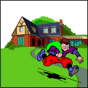 A burglar running away with a bag of stolen property, a house in the background