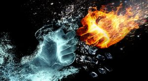 Two fists colliding, one made of water and one made of fire