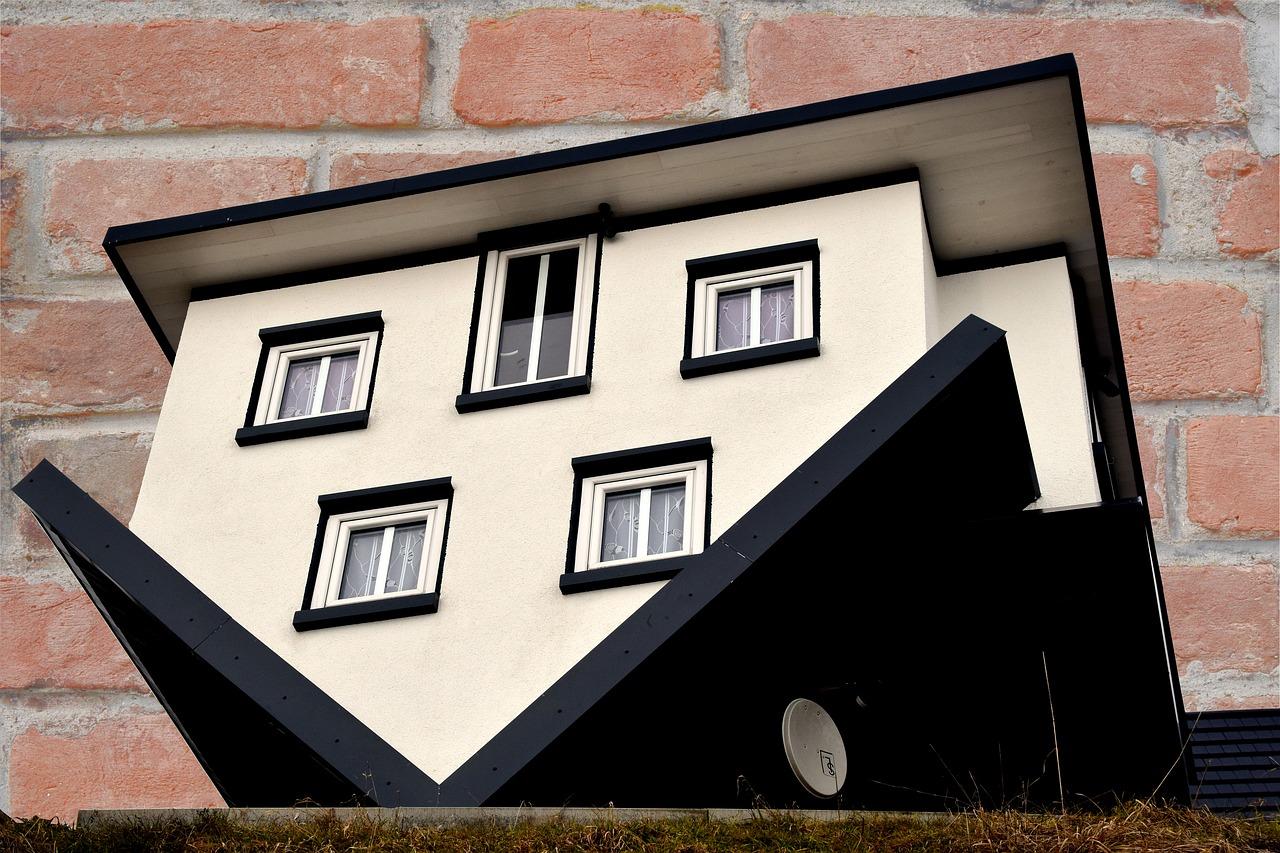 A model house turned upside down