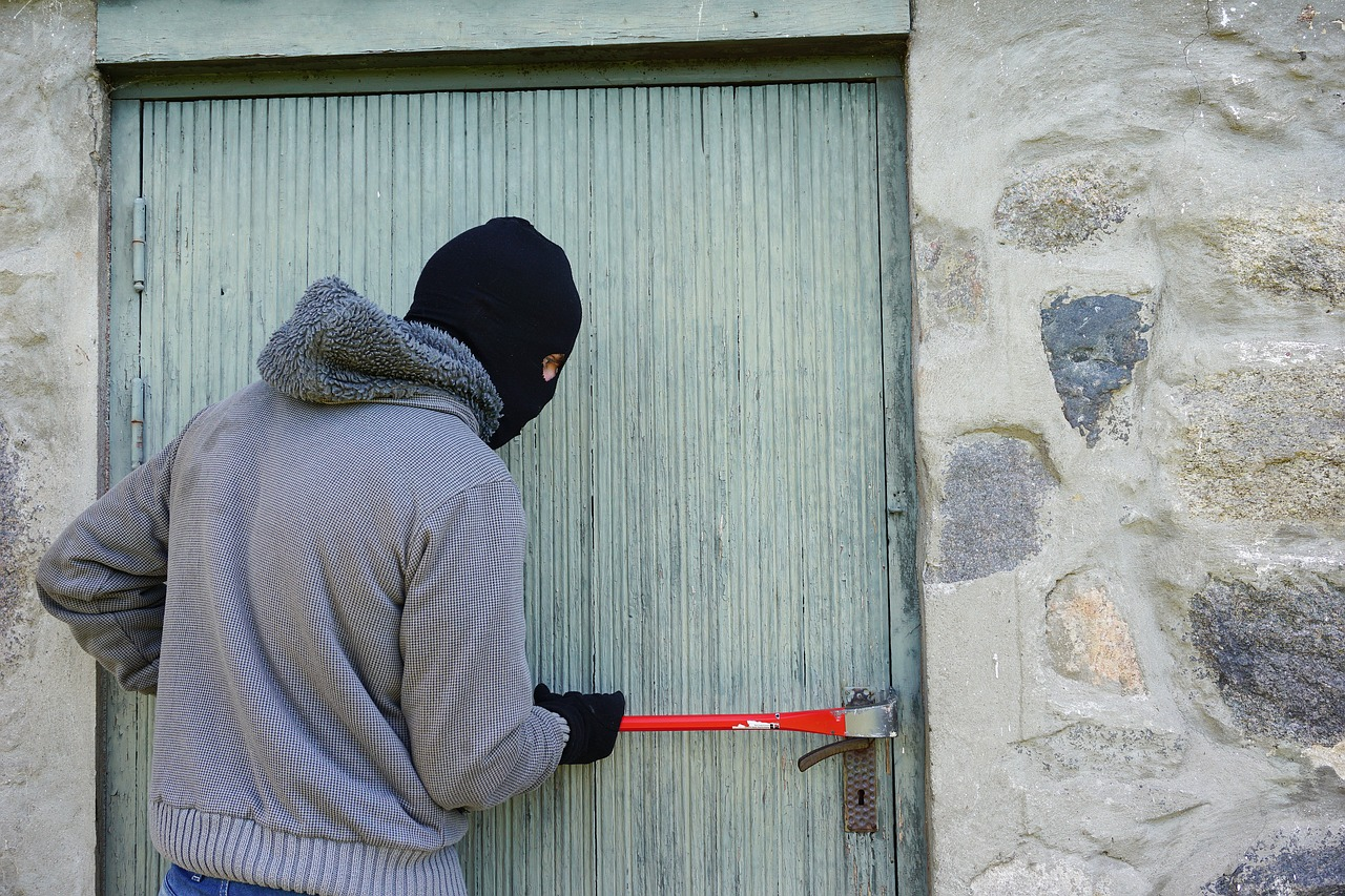 A burglar wearing a mask opening a back door, trying to break in
