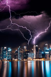 Lightning striking a skyscraper