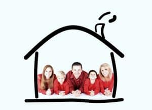 Family in a drawn house - your #1 among reasons for getting home insurance