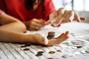 Woman counting the money