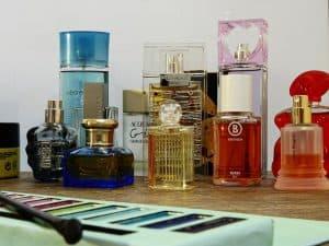 parfume bottles in bathroom