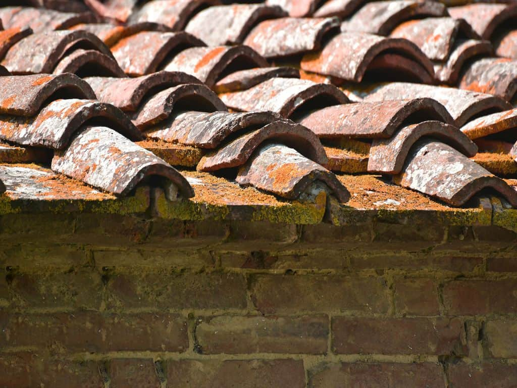 A close-up shot of a roof with rusty tiles, representing the need to find and fix roof leaks.