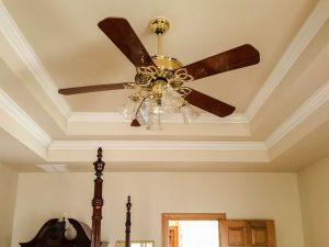 An ornate and expensive ceiling fan.