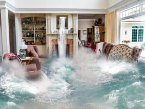 A flood in a living room.