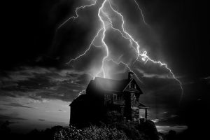 What happens when lightning strikes the house?