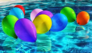 flammable items in your home - balloons in the pool