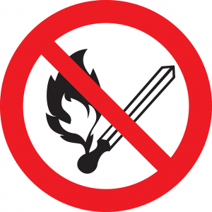 flammable items in your home - no fire sign